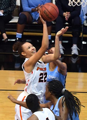 Pacific guard Valerie Higgins was named the West Coast Conference player of the week. It's the fourth time in her career she has won the award.