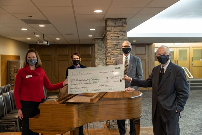The Rockford Symphony Orchestra recently announced that it reached the $100,000 mark in its Larsen Legacy Campaign and was also awarded a $100,000 match from the Rockford Symphony Orchestra Foundation. Pictured, from left: RSO Executive Director Julie Thomas, RSO Foundation Vice President LoRayne Logan, RSO Foundation Treasurer/Secretary Ellwyn Englof and RSO Foundation board President Keith Syfert.