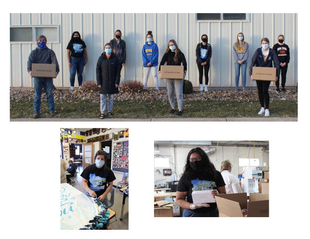 (Top) FFA members and officers helped pack Holiday Boxes, for the Trinity Backpack Program for families in need, at Mark Thomas Company, from left: Brennen Meyer, Leisha Martinez, Maddi Helget, McKenna Dockter, Gracie Sellner, Miah Brown, Priscilla Martinez, Carmen Lendt, Morgan Hoffmann and Brooke Arneson. Bottom left:  FFA members tied 16 blankets and donated them in the community. Pictured is Nayzeth Luna, one of 15 members who helped with this project. Bottom right: Leisha Martinez, Chapter Historian helped with the packing of the Holiday Boxes that are coming soon to the families!