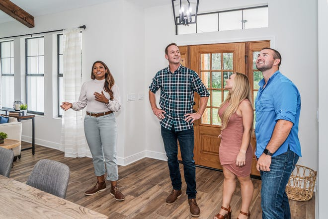 "Mika and Brian Kleinschmidt, the stars of ""100 Day Dream Home,"" show off the project they created for new homeowners Zoe and Trey Larson on the second season of the HGTV series set in the Tampa Bay area."