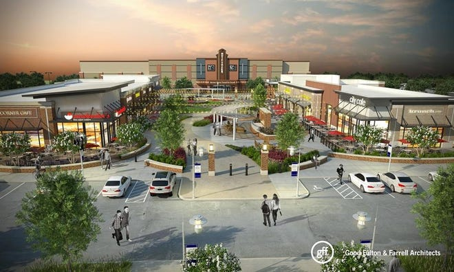 An architect's rendering of the planned Freedom Crossing Center on Fort Bragg show a mix of dining, retail and entertainment planned for a future shopping center on post.