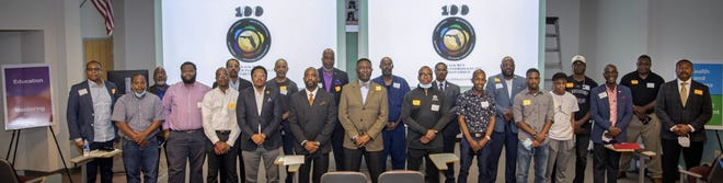 100 Black Men Gainesville chapter at a recent meeting of the organization.