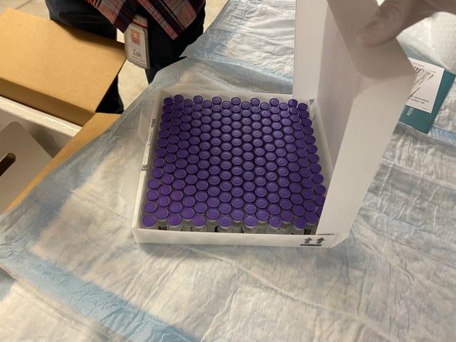 A box of Pfizer COVID-19 vaccine at the Pueblo County vaccine distribution hub