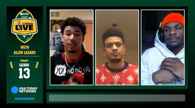 Green Bay Packers wide receiver Allen Lazard (left) co-hosted Monday's Clubhouse Live. Lazard's guests were fellow wideouts Equanimous St. Brown (center) and Marquez Valdes-Scantling (right).