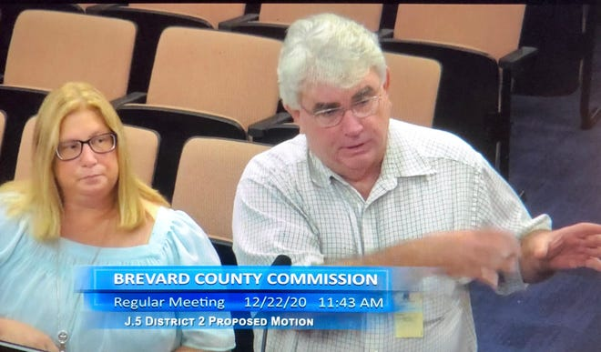 Brevard County Clerk-elect Rachel Sadoff and Brevard County Clerk Scott Ellis address county commissioners at Tuesday's meeting.