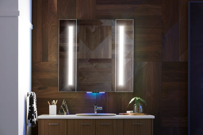 Bathroom mirrors are now available with technology allowing for voice control of things like lights and music.