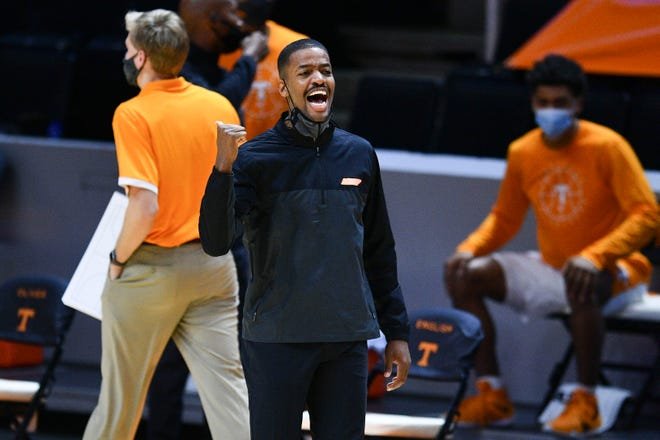 Tennessee assistant basketball coach Kim English during an NCAA men's basketball game against St. Joseph's in Knoxville, Tenn. on Monday, December 21, 2020.