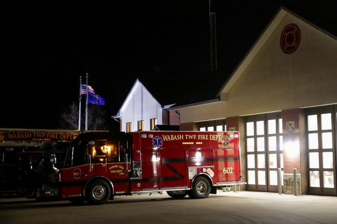A fire engine sits outside the Wabash Township Fire Department Station no. 1, Monday, Dec. 21, 2020 in West Lafayette.