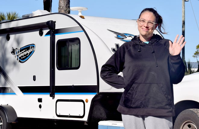 A Gannett photographer found Wabash Township Trustee Jennifer Teising's travel trailer and Teising on Tuesday, Dec. 22, 2020, at Camper's Inn  RV Park in Panama City Beach, Fla. Many question Teising's residency since she sold her West Lafayette home in June.
