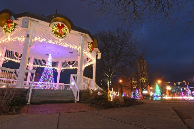 Central Park and the gazebo glow with decorations for the Christmas season