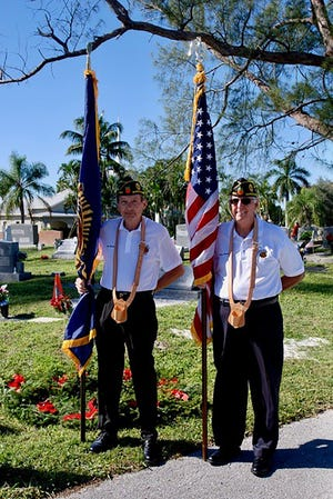 American Legion Post 404 members Jim Romerill,  US Navy 2nd Class Petty Officer (Ret.) and Harry Weathers, Army SP5 (Ret.) were part of the Color Guard at the 2nd Annual Wreaths Across America at the Marco Island Cemetery.