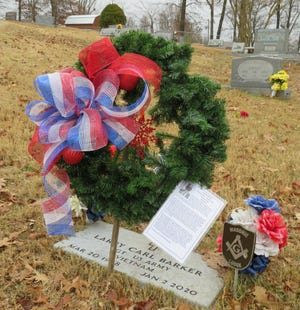 On Saturday, Dec. 12, members of the Captain Nathan Watkins Chapter, NSDAR held a wreath laying ceremony at the Mountain Home Cemetery.  Seven beautiful handmade wreaths were hung to honor veterans of several wars.  They included: Hosea R. Alley (U.S. Army, WWI), Myron J. Alman (U.S. Navy, WWII), Jay E. Baker I (U.S. Air Force, Viet Nam), Larry C. Barker (U.S. Air Army, Viet Nam), Chapman W. Bodenhamer (U.S. Army, Civil War), Samuel A. Fleming (U.S. Army, Spanish American War, and Peter A. Jocobelli (U.S. Army, WWII, Korea, Viet Nam).  Family members, members of the Mountain Home Historical and Genealogical Society, and representatives from the Mountain Home cemetery were also present. This has become a yearly event for the Chapter.  Wreaths from last year's ceremony were also put on their respective gravesites.