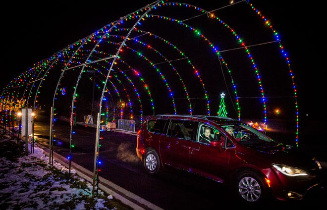 A drive thru light display at the Meridian Health Services Suzanne Gresham Center on White River Boulevard in Muncie.