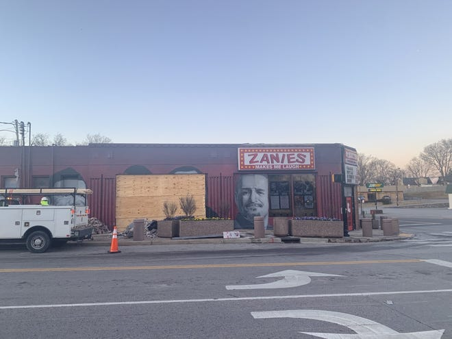 No one was injured Tuesday when a dump truck crashed into Zanies comedy club in Nashville.