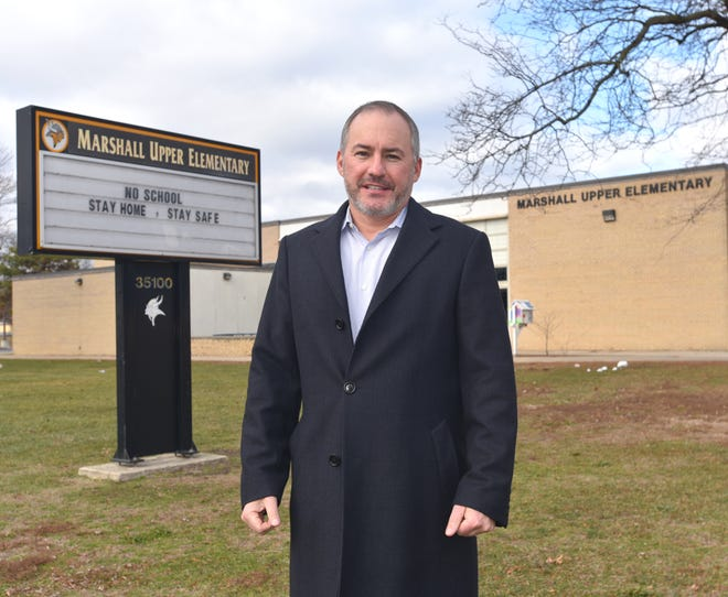 Westland Mayor Bill Wild at Marshall Upper Elementary School on Dec. 22, 2020. The mayor is hoping to turn the now-closed school into a recreation center in the coming years.