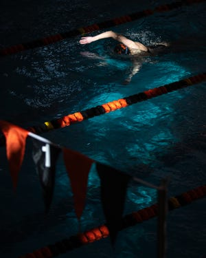 Central York's Abbigale Smith races in heat 2 of the Girls 500 Yard Freestyle during day two of the YAIAA swimming and diving championships, Saturday, Feb. 8, 2020, at Central York High School in Manchester Township.
