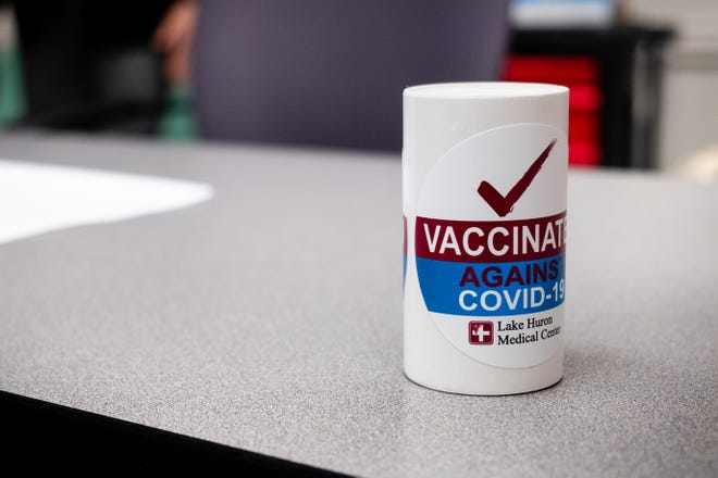 After being vaccinated against COVID-19, Lake Huron Medical Center employees receive a sticker.