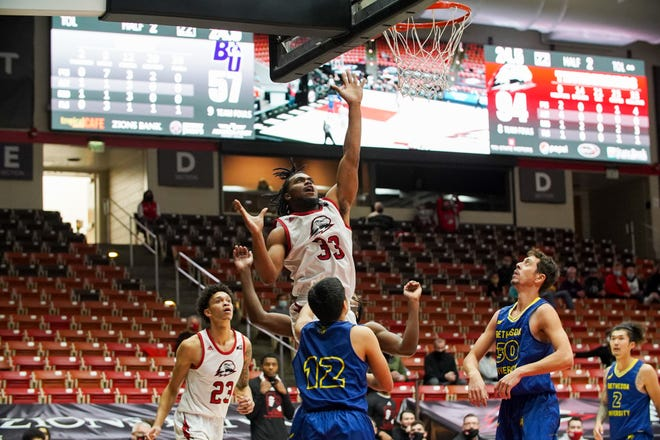 SUU guard Martell Williams heads to the basket during the Thunderbirds' 96-57 win Monday over Bethesda. The T-Birds have started the season 7-1, including 2-0 in Big Sky conference play.