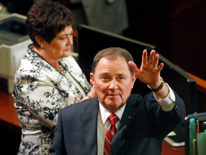 Utah Gov. Gary Herbert waves after speaking before the Utah Legislature during his annual State of the State speech on Jan. 24, 2018, in Salt Lake City. Herbert is looking back on his 11-year tenure as his time as governor comes to an end.