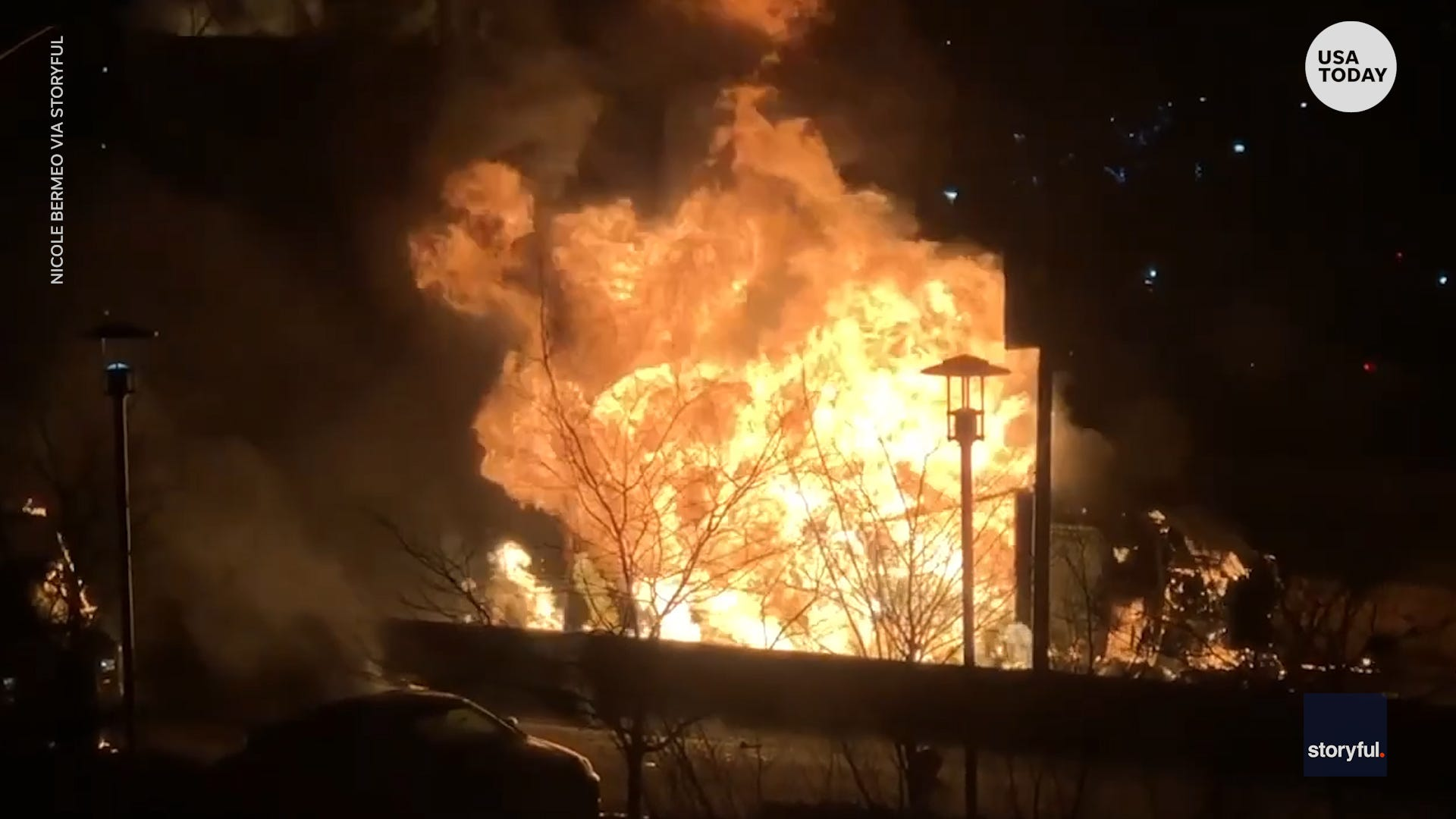 Truck with 300 propane tanks flipped over and burst into flames in Queens, New York
