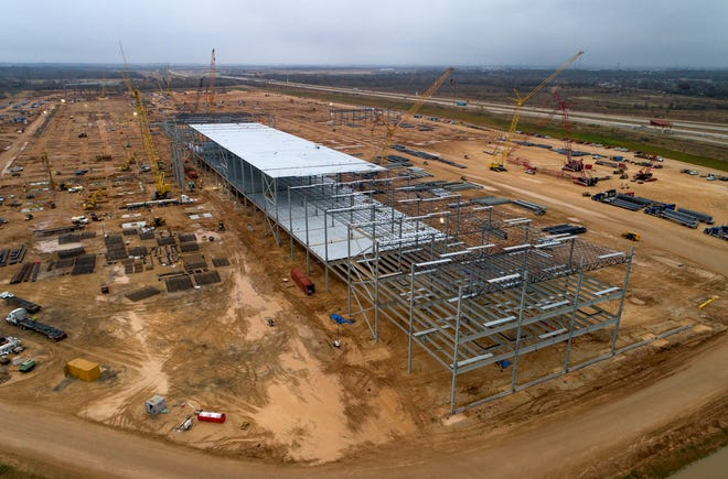 Tesla Giga Texas is under construction on Wednesday December 23, 2020.