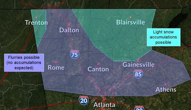Athens is on the borderline for snow flurries on Thursday. [National Weather Service graphic]