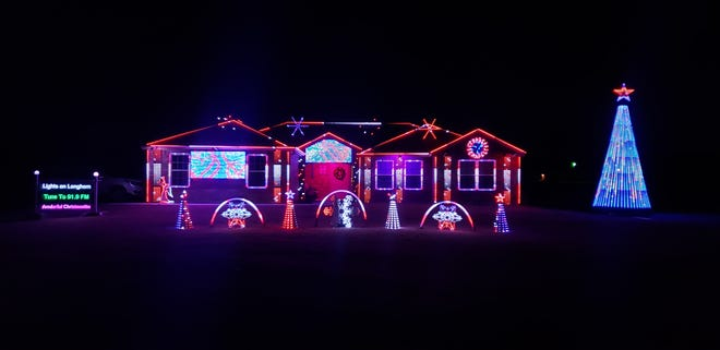 For the fourth year in a row, the house located at 126 Longhorn Trail is holding an audio/visual holiday light show. Over 13,000 lights are programed to create various patterns, pictures, and themes to a variety of holiday music.