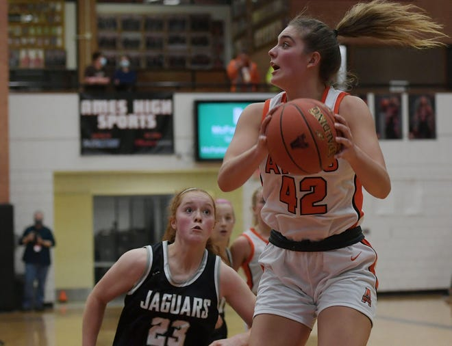Ashley Iiams, seen here in Ames' game against Ankeny Centennial on Dec. 22, posted a double-double against Fort Dodge Tuesday with 19 points and 16 rebounds to help the Little Cyclone girls earn a 55-51 win over the Dodgers at Fort Dodge.
