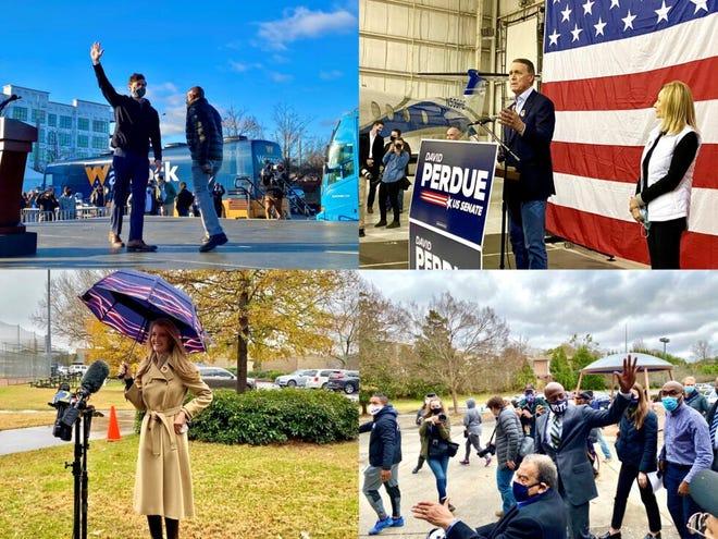 Clockwise, Jon Ossoff, U.S. Sen. David Perdue, Raphael Warnock and U.S. Sen. Kelly Loeffler are competing for Georgia's two Senate seats in the runoff elections Tuesday.