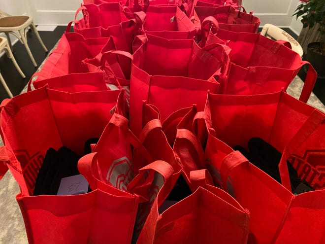 The gift bags each member of the Ohio State's men's basketball team was to receive on Christmas Eve.