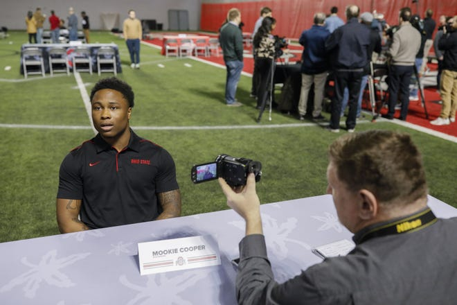 Ohio State Buckeyes wide receiver Mookie Cooper answers a question during the football signing day press conference on Wednesday, February 5, 2020 at the Woody Hayes Athletic Center in Columbus, Ohio. [Joshua A. Bickel/Dispatch]