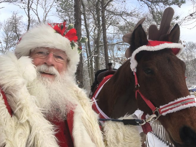 Santa Claus, played by John Sullivan of Dennis Port, and Moose at Meetinghouse Farm in West Barnstable. Sullivan will play Santa on the FOX Network's NFL pregame show on Christmas Day. [Photo courtesy of John Sullivan]