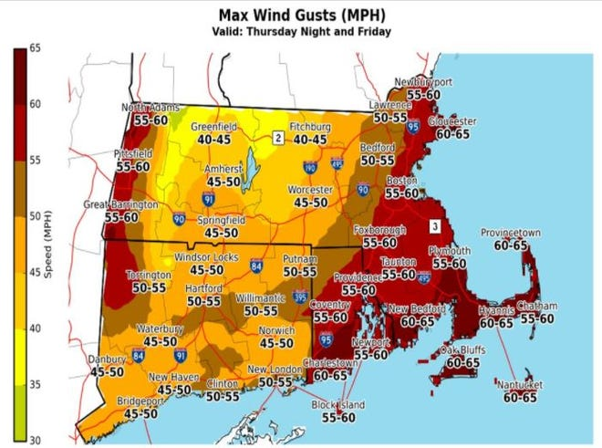 Wind gusts could reach 65 mph on Christmas Day as a high wind watch goes into effect