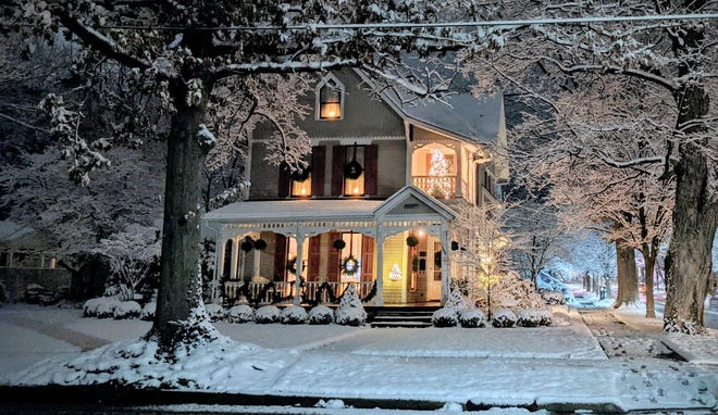 Snowfall on Dec. 16 helped create this Christmas-card scene in Granville.