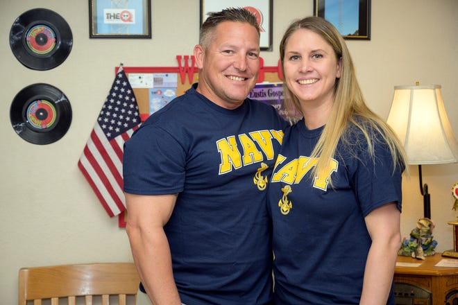 Navy veterans Dave and Becky Hoover gather at WQBQ The Q radio station for an interview in Leesburg.