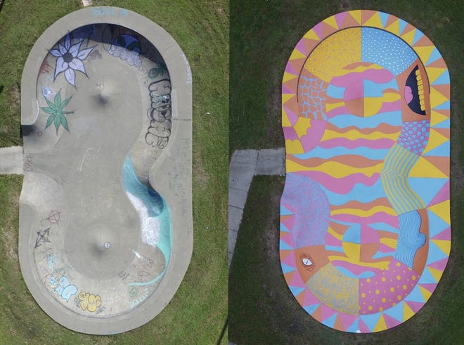 Pettis Park's skate bowl before and after Jake Myers did his painting.