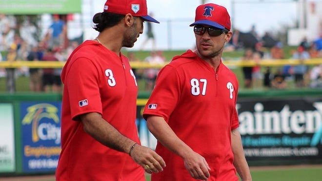 Durham's Sam Fuld, right, has been named the general manager of the Philadelphia Phillies. Fuld has worked the past three seasons in the Phillies organization.