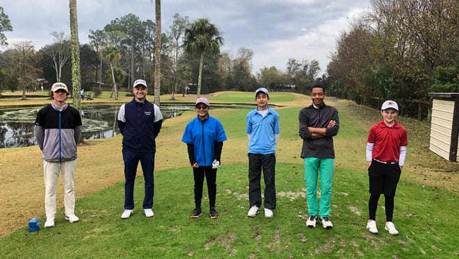 Two-time PGA Tour winner Russell Knox (second from left) played in the North Florida Junior Foundation Par-3 Championship last week at Palm Valley. Also in his group, from the left, are Nicholas Farraye, Alyzabeth Morgan, Anthony Rivera, Alexander Lymus and Brady Dougan.