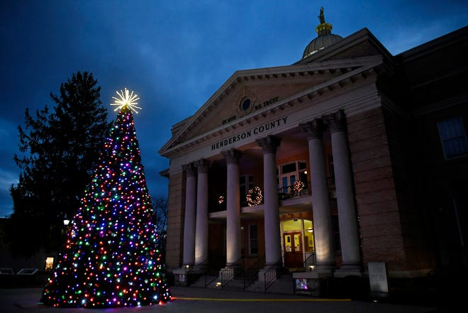 The Henderson County Courthouse, shown here Dec. 16, has been decorated for the holiday season.  The number of coronavirus cases in the county is spiking just before the Christmas holiday.