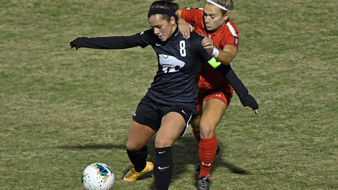 Newton High School graduate and K-State midfielder Brookelynn Entz (98) was named the 2020 Big 12 Soccer co-Scholar-Athlete of the Year by the league's coaches.