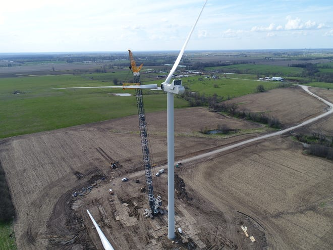 A photo from the construction process of the High Prairie Renewable Energy Center in Schuyler and Adair counties.