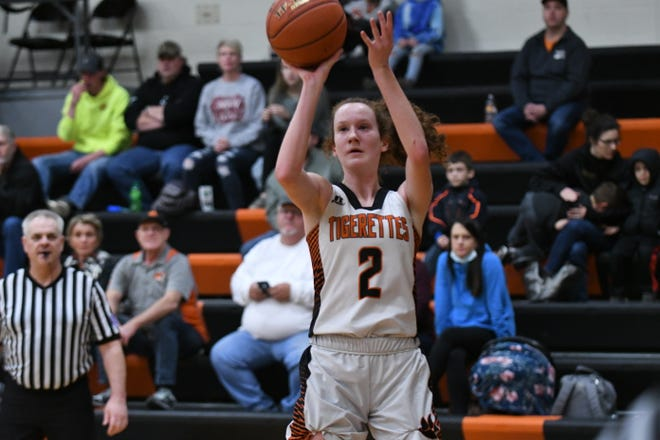 Macon's Kate Hawkins puts up a jumper in the third quarter of Tuesday's 65-55 win over Milan.