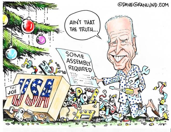 Dave Granlund cartoon on Biden's broken USA Christmas present