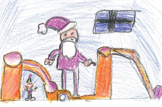 Mount Shasta second grader Anders Adkisson's picture to accompany his letter to Santa Claus.