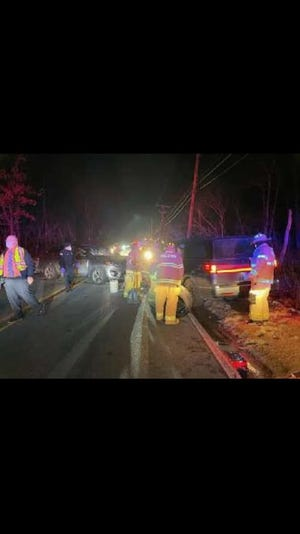 Police say three people were seriously injured Tuesday, Dec. 22, 2020, after a head-on crash in Holliston.