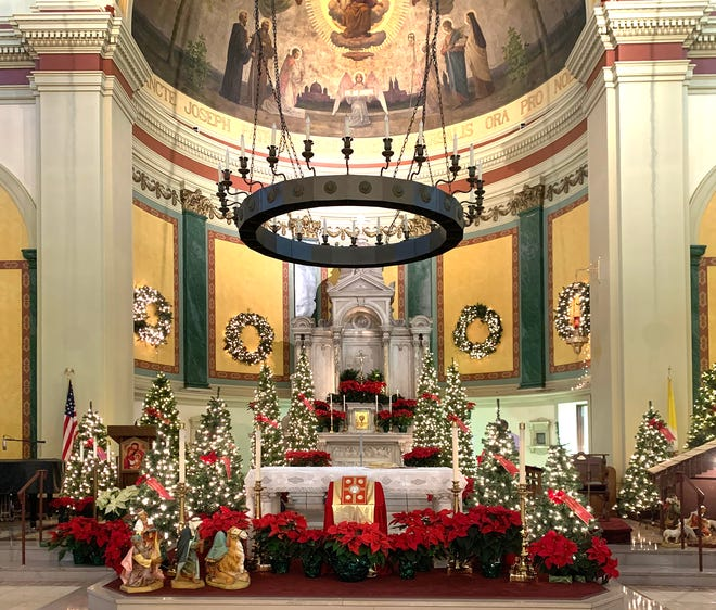 St. Joseph's Church on Broadway at Mann Avenue in Newport is ready for its holiday masses.
