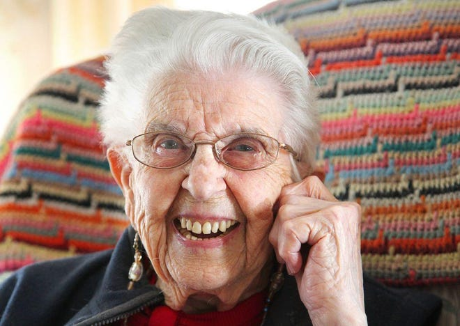 """Dorothy """"Dot"""" Cole in 2016, at age 98, still worked as bookkeeper for the Mount Hope Cemetery Association in So. Weymouth. She had lived in Weymouth all her life in the house where she was born."""