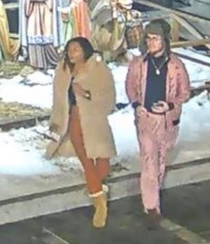 Two people believed to have vandalized Quincy City Hall's nativity scene.