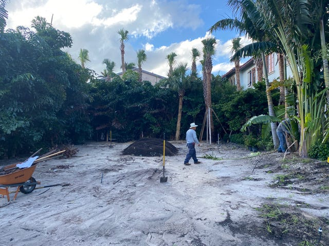 The garden site on Sunset Avenue near the Via Flagler by The Breakers is a work in progress earlier this  fall.