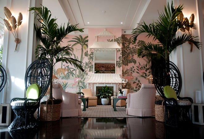 The Colony Hotel's lobby now features a pagoda, vintage and new furniture and de Gournay hand-painted wallpaper. MEGHAN McCARTHY / Palm Beach Daily News
